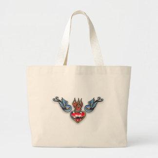 Tattoo heart canvas bags
