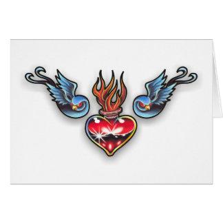 Tattoo heart greeting card