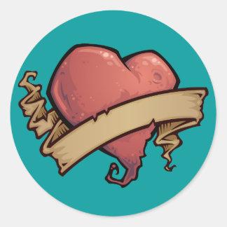 Tattoo Heart Round Sticker