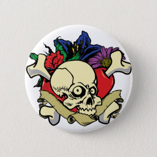 Tattoo Heart Skull 2 Inch Round Button