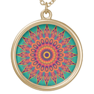 Tattoo Kaleidoscope Fractal Round Pendant Necklace