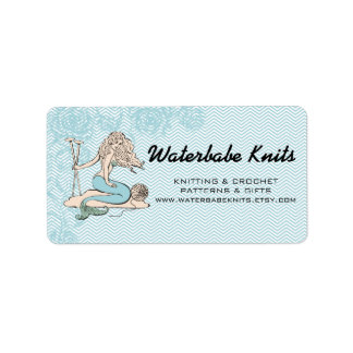 Tattoo mermaid  babe knitting needles yarn