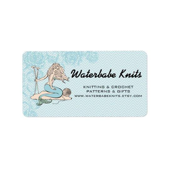 Tattoo mermaid  babe knitting needles yarn