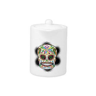 Tattoo Mexican Sugar Skull Black Rays Background