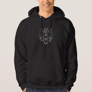 Tattoo Raceing Skull & Checkerd Flags Hooded Sweatshirts