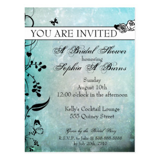 Tattoo Rose and Fluers Bridal Shower Invitation Postcard