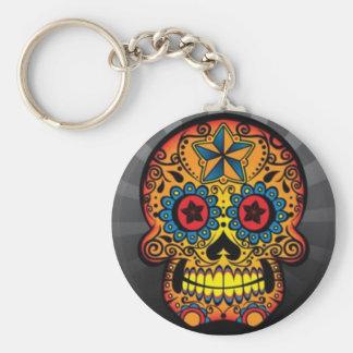 Tattoo Skull Basic Round Button Keychain