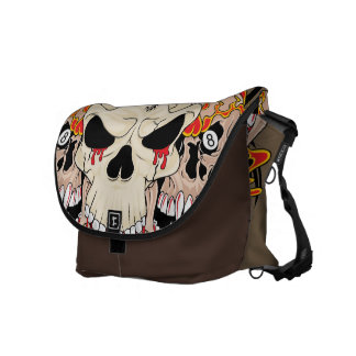 Tattoo Skull Eight Ball Flame Fire Messenger Bag