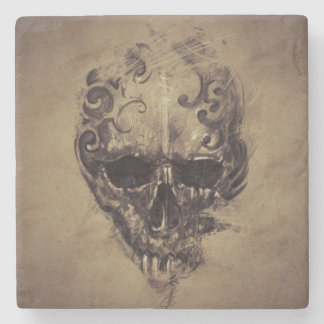 Tattoo Skull Over Vintage Paper Stone Coaster