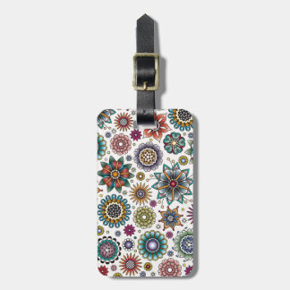 Tattoo Style Flower Doodle Pattern Luggage Tag