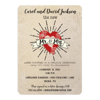 Tattoo Style Post Wedding Elopement Party Card