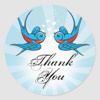 Tattoo Swallows and Scroll Urban Thank You. Classic Round Sticker