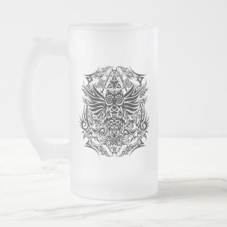 Tattoo tribal owl frosted glass beer mug