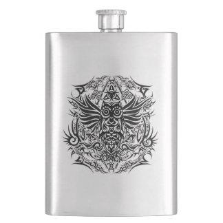 Tattoo tribal owl hip flask
