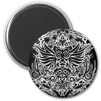 Tattoo tribal owl magnet
