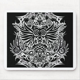 Tattoo tribal owl mouse pad