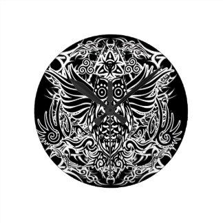 Tattoo tribal owl round clock