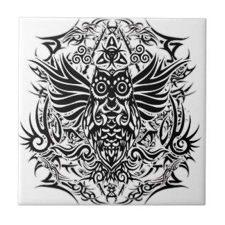 Tattoo tribal owl tile