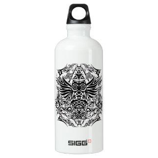 Tattoo tribal owl water bottle