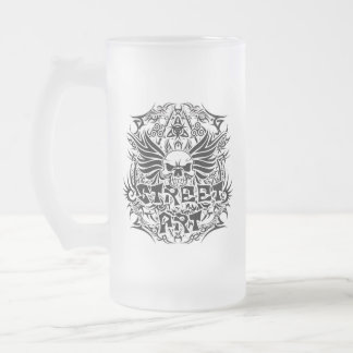 Tattoo tribal street art frosted glass beer mug