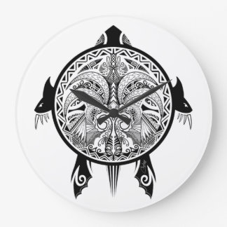 Tattoo Tribal Turtle Large Clock