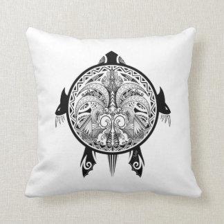 Tattoo Tribal Turtle Throw Pillow