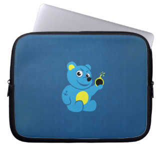 Tattooed Cartoon Evil Teddy Bear Laptop Sleeve