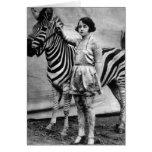 Tattooed Circus Lady and Zebra Card - Blank Inside