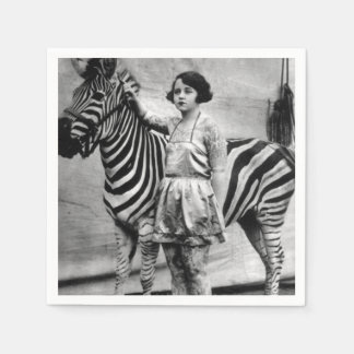 Tattooed Circus Lady and Zebra Napkins