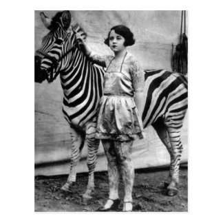 Tattooed Circus Lady and Zebra Postcard