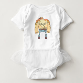 Tattooed Dangerous Criminal Outlined Comics Style Baby Bodysuit