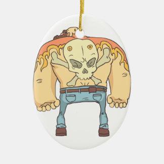 Tattooed Dangerous Criminal Outlined Comics Style Ceramic Ornament