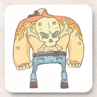 Tattooed Dangerous Criminal Outlined Comics Style Coaster