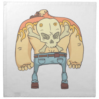 Tattooed Dangerous Criminal Outlined Comics Style Napkin
