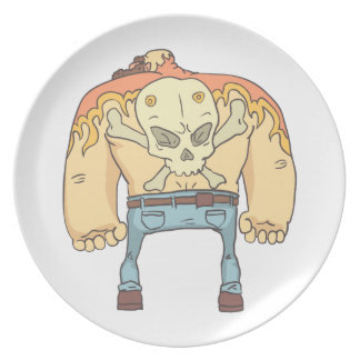 Tattooed Dangerous Criminal Outlined Comics Style Plate