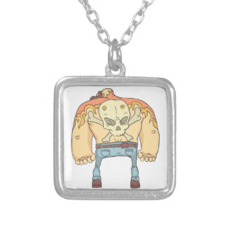 Tattooed Dangerous Criminal Outlined Comics Style Silver Plated Necklace