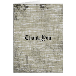Tattooed Grunge Gothic Linen Thank You Card