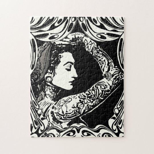 Tattooed gypsy woman in black and white jigsaw puzzle