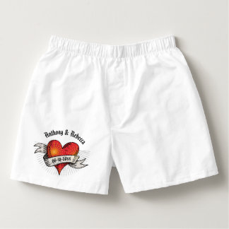 Tattooed Hearts Add Names and Date Boxers
