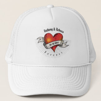 Tattooed Hearts Add Names and Date Trucker Hat
