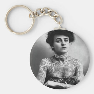 Tattooed Lady - Woman with Tattoos - vintage Basic Round Button Keychain