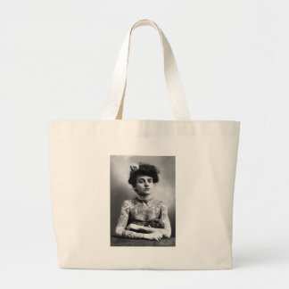 Tattooed Lady - Woman with Tattoos - vintage Large Tote Bag
