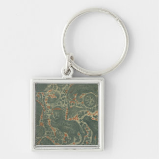 Tattooed Man Silver-Colored Square Keychain