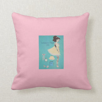 Tattooed Retro 1960s Doll Inspired Painting Throw Throw Pillow