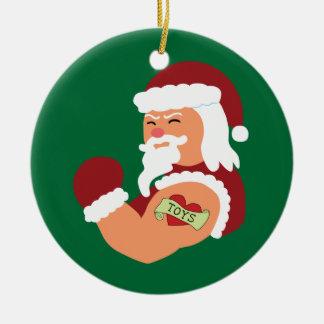 Tattooed Santa Ceramic Ornament