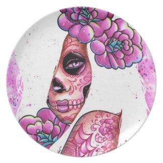 Tattooed Sugar Skull Girl: Lola Dinner Plates