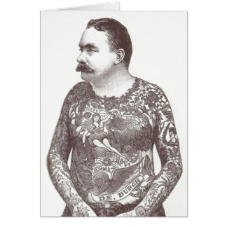 Tattooed Victorian Guy with Moustache Card