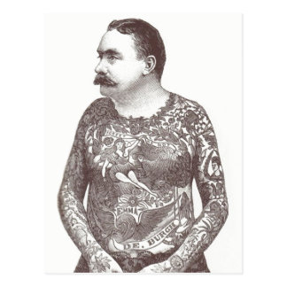 Tattooed Victorian Guy with Moustache Postcard