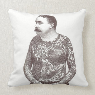 Tattooed Victorian Guy with Moustache Throw Pillow