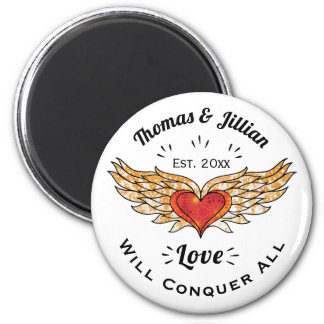 Tattooed Winged Heart Add Names and Date Magnet